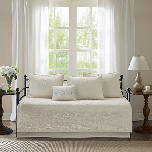 Madison Park Peyton Daybed Cover Reversible Cotton Fill Medallion Floral Flower Pattern Ultra Soft Embroidered Pillow Down Alternative Hypoallergenic All Season Coverlet Bedding-Set, Cream