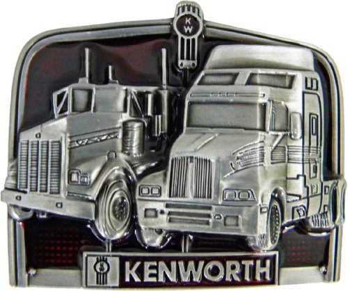 (Kenworth Die Cast Pewter Finish Belt Buckle with Red)