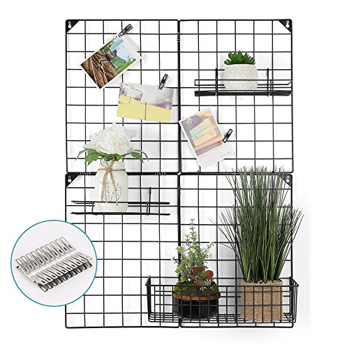 NEX Wire Wall Grid Panel, Larger Multifunctional Grid Photo Wall Storage Organizer, with 20 Clips & 3 Basket, Size: 32.68