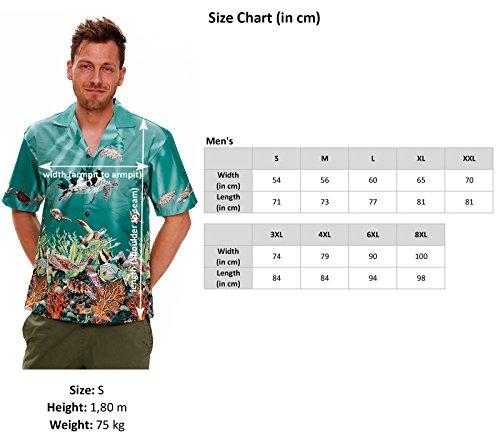 KY's | Original Camisa Hawaiana Caballeros | S-3XL | Manga Corta | Bolsillo Delantero | Estampado Hawaiano | Palmeras | Acuario Piscis Coral | Turquesa turquesa