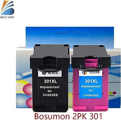 Bosumon 1 Set Compatible 301XL de HP 301 XL negro y color cartucho de tinta (la