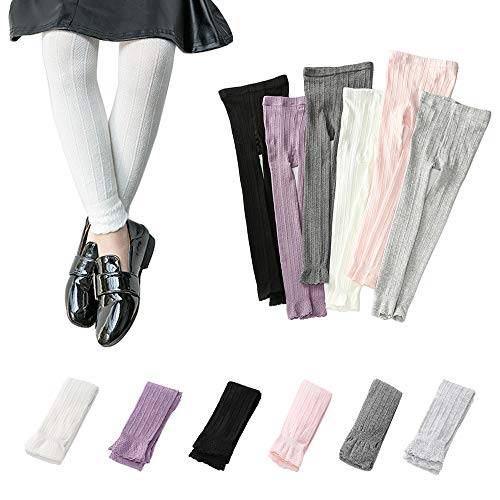 (Girls Footless Leggings Knit School Tights Baby Toddler Lace Trim Bootcut Spring/Fall Pants 1-8 Years (White, L 5-8 Years))