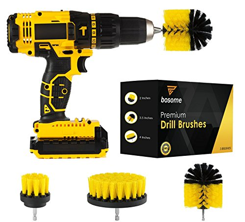 Price comparison product image BOSOME Premium Drill Brush Set of 3 - Cleaning Kit - 3 Brush Designs - Bathroom,  Kitchen,  Toilet,  Tile,  Grout,  Floor,  Carpet,  Rim,  Shower,  Tub,  Indoor and Outdoors Power Scrubber - Drill Attachment