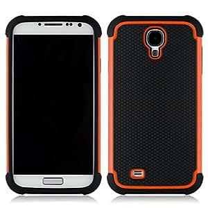 Buku Wireless Slim Hybrid Armor Soccer Skin Defender Bumper High Impact Body Hard Pc&silicone Case for Samsung Galaxy S4 (Orange)