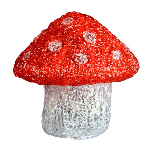 XEPA EHX-OSM1 LED Illuminated Acrylic Mushroom Sculpture Figurine Night Light, Red Mushroom Accent Lamp
