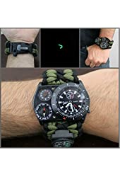 227 - Thermometer Paracord Tactical Survival Watch w/ Flint Compass Razor Knife Thermometer Whistle Black