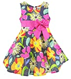 Buenocns Summer Dresses Girls Sleeveless Cotton Round Neck Floral Printed Girls Dresses Pansy 331 6