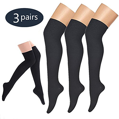 BLUEMAPLE Compression Socks,(3 pairs) Knee High Compression Sock for Women & Men - Best For Running, Athletic Sports, Crossfit, Flight Travel - Suits