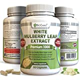 Best 100% Pure White Mulberry Leaf Extract Premium 1000mg | Natural High & Low Blood Sugar Control & Weight Loss Support Supplement - Fiber Rich, Increases Energy (60 Veggie Capsule Pills of 500mg)