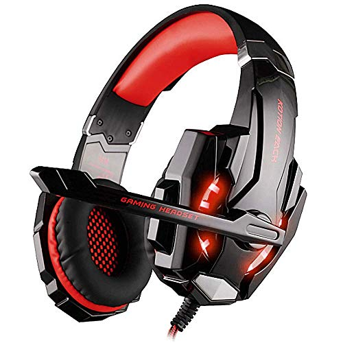 BIBOX G9000 Stereo Gaming Headset, Bass Surround Sound Over Ear Headphones 3.5mm Jack with Noise Cancelling Mic and LED Light for PC/PS4/Xbox One/Laptop with 1 to 2 Adapter Cable - ()