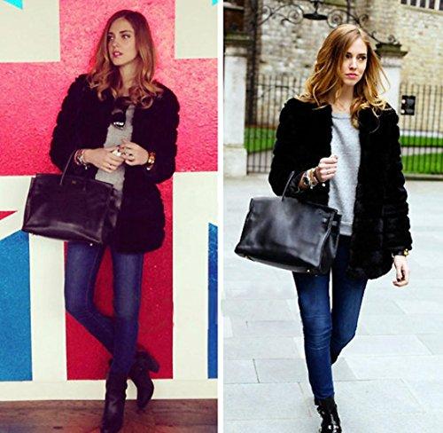 de Abrigo Internet Ladies Parka para invierno sintética piel Escudo de abrigo cálido New Chaqueta mujer Negro Outerwear AxtqEwF5v