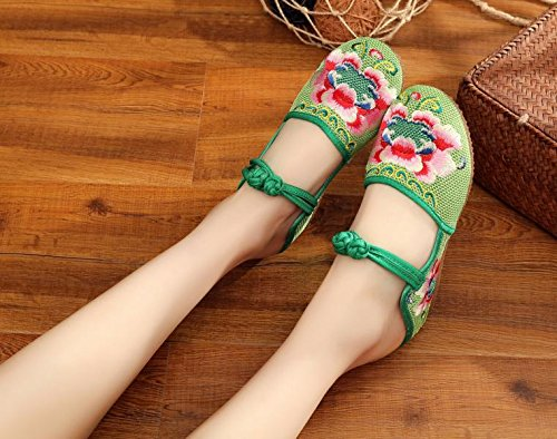 Zapatos Verde Casual Tendón Mn Único Sandalias Moda Étnico Flip Cómodo Bordado De Mujeres Estilo Flop F56HqUx