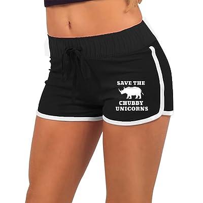 MC WUAHW Rhino Save The Chubby Unicorns Female Running Shorts Jogging Sports Pants