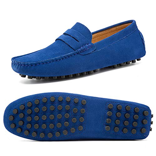 Go Tour Men's Classy Fashion Slip Penny Loafers Casual Suede Leather Moccasins Driving Shoes Flats Classic Boat Shoes (47 M EU/11 D(M) US, Sapphire Blue)