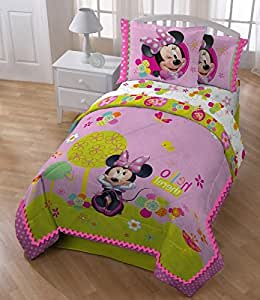 5 piece girls disney pink minnie mouse comforter full set cute multi floral heart - Mini mouse bedroom ...