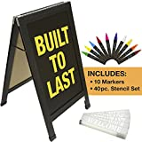 Sandwich Board Sidewalk Chalkboard Sign: Reinforced, Heavy-Duty / 10 Chalk Markers / 40 Piece Stencil Set/Chalk / Eraser/Double Sided/Large 40x23 Chalk Board Standing Sign A-Frame (Black)