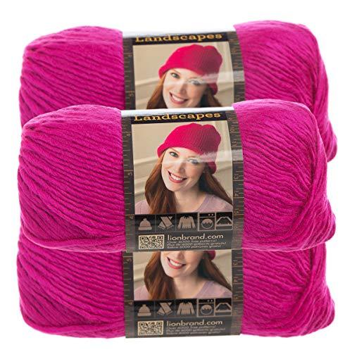 Lion Brand Yarn (3 Pack) Landscapes Yarn Acrylic 100 Percent Medium #4 Soft Yarn for Knitting Crocheting (Fushia)
