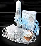 English Handmade Christening/Baptism Set For Girl, Boy, or Unisex : Candle, Bible, Dry Cloth, Sea Shell, Rosary and Holy Water Bottle Silver Tray–Bautizo Religious Gift (Blue)