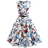 Nikuya Women Sexy Vintage Printing Bodycon Sleeveless Casual Evening Party Prom Swing Dress (White, XXL)