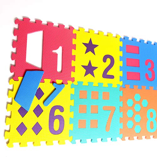 (Numbers and Shapes Rubber EVA Foam Puzzle Play Mat Floor. 10 Interlocking playmat Tiles (Tile:12X12 Inch/9 Sq.feet Coverage). Ideal for Crawling Baby, Infant, Classroom, Toddlers, Kids, Gym Workout)
