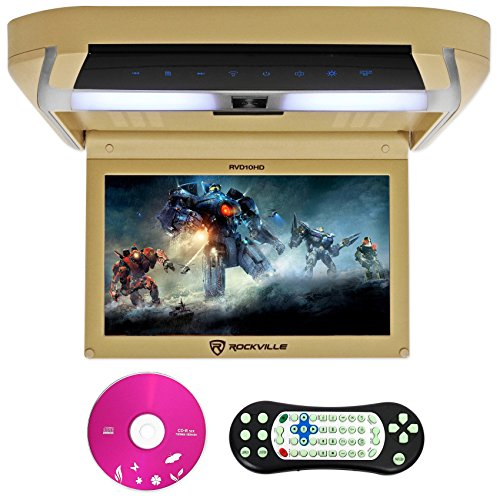 Rockville-RVD10HD-BG-101-Flip-Down-Monitor-DVD-Player-HDMI-USB-Games-LED