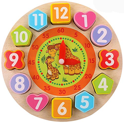 Early Education Lovely Giraffe Early Education Wooden Shape Sorting Clock/Wooden Clock with Numbers and Shapes Sorting Blocks , Sorting Clock Toddlers Educational Toy for 1 2 3 Years Old Boy and Girl]()