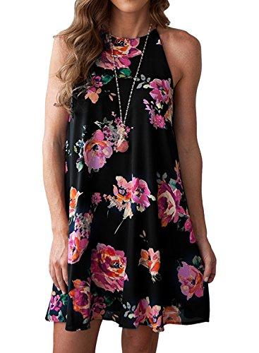ho Floral Print Halter Neck Chiffon Sleeveless Short Mini Dress (L, Black) (Chiffon Print Halter Dress)