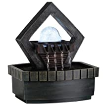 Ore International K324 Indoor Diamond Meditation Table Fountain with LED Light, 9-1/2-Inch