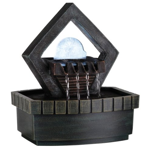 ORE International K324 Indoor Diamond Meditation Table Fountain with LED Light, 9-1/2-Inch