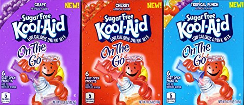 Kool-Aid On The Go 1 GRAPE 1 Tropical Punch 1 CHERRY (3 Boxes Total) (1 Box of Each Flavor, 6 Packets Per (Flavor Aid)