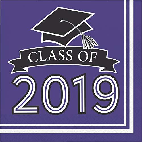 "(Creative Converting 335418 Purple Class Of 2019 Napkins, 6.5"",)"