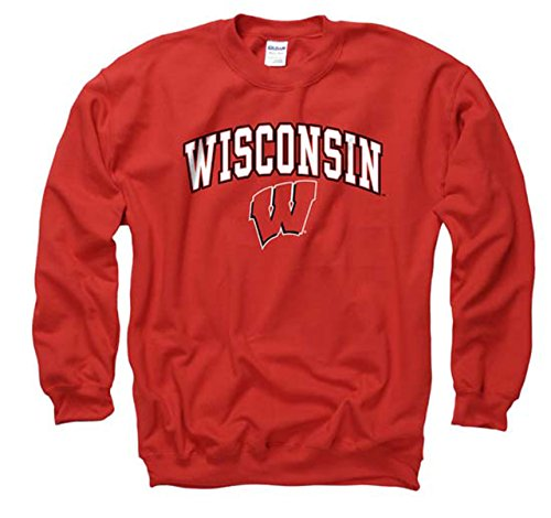 Wisconsin Badgers Adult Arch & Logo Gameday Crewneck Sweatshirt - Red , X-Large