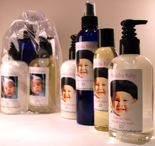 Personalized Buddha Baby Lavender Spa Bag with blue font on labels Blue Label Moisturizing