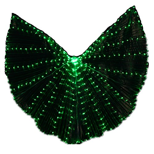 Green Belly Dance Costume - Halloween Pub Shows Costumes Green LED Lights Belly Dance Isis Wings Prop(No Batteries&Sticks)