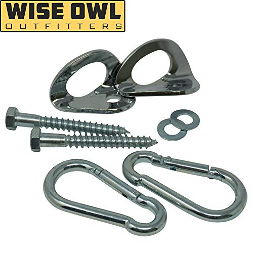 Wise Owl Outfitters Hammock Hanging Kit - Heavy Duty Hardware Hooks for Indoor or Outdoor Hang - Tree or Wall Mount - Works with All Hammocks - Perfect Camping Accessory