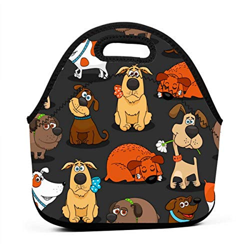 AGRBLUEN Practical Fashion Zip Lunch Cute Bulldog Corgi and Pet Dogs Bags Leak Proof Picnic Food Bag Portable Bento Tote Convenient Insulation Bag for School Students Office Workers Outdoors -
