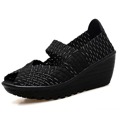HKR HKR-559heiyin41 Women Mary Jane Platform Wedges Sandals Summer Comfort Woven Shoes Black Silver 9 B(M) US (Janes Platform Toe Open Mary)
