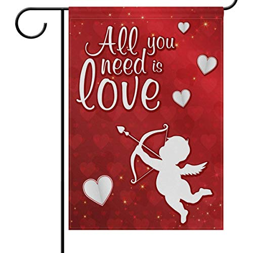 Valentine's Day Hearts Cupid Love Garden Yard Flag Banner House Home Decor 12 x 18 inch, Red White Small Mini Decorative Double Sided Welcome Flags for Holiday Wedding Party Outdoor Outside