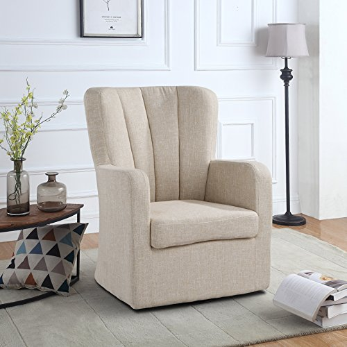 Modern Swivel Armchair, Rotating Accent Chair for Living Room with Pleated Back (Beige) For Sale