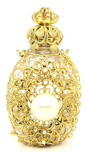 (Czech Victorian Style Decorative Perfume/Oil/Holy Water Bottle Holder Necklace/Pendant (gold tone))