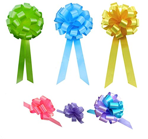 - Easter Gift Pull Bows Variety Pack - Set of 12, Lime, Sky Blue, Daffodil, Turquoise, Lavender, Azalea Pink