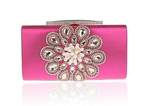 Lustré Luxueux Femme Chaînes Elégant Rose Diamanté de Soirée Sac Chic Pochette Main Rétro à Avec rrwAqS