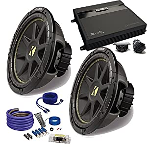 "Kicker 2 12"" Comp Subwoofers and a ZA2-1000.1D 1000 Watt Amp + Amp wire kit Package"