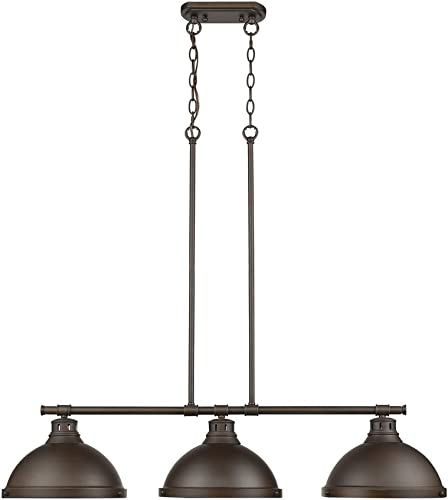 Golden Lighting 3602-3LP RBZ Duncan Linear Pendant, Rubbed Bronze with Rubbed Bronze Shades