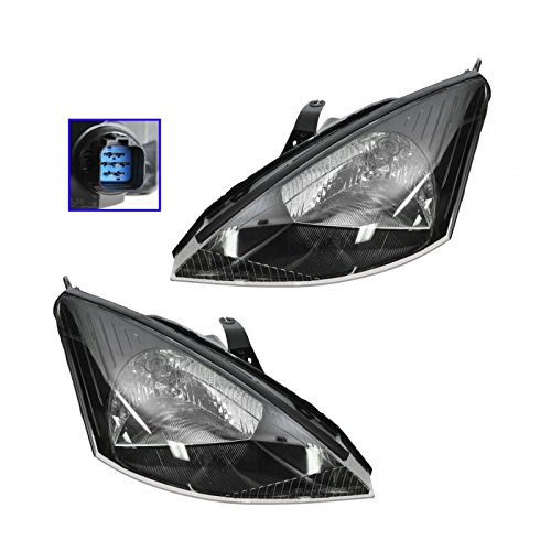 Svt Headlights Focus - Headlights Headlamps Pair Set for 02-04 Ford Focus SVT
