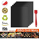 Grill Mat, 100% Non-stick BBQ Grill Baking Mats 5 Sets with Brush, FDA Approved, Reusable and Easy to Clean Barbecue Grilling Accessories Grilling Mat, Works on Gas, Charcoal, Electric Grill