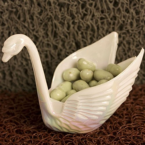 - 12 Beautiful Iridescent White Swan Wedding Favors Candy Dish Containers 3
