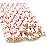 "Carejoy 7.75"" Paper Party Striped Straws Coloful Striped Drinking Straws Party Straws 50 Pcs (Red Heart)"