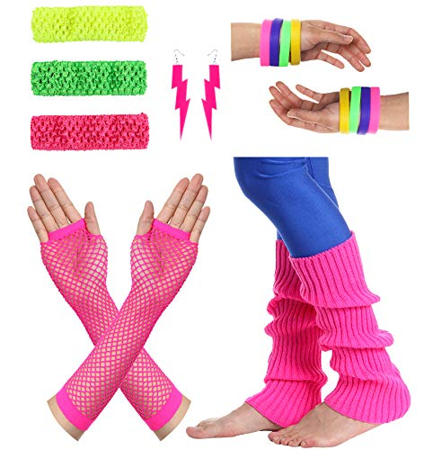 JustinCostume Women#039s 80s Outfit Accessories Neon Earrings Leg Warmers Gloves A