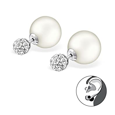 Sterling Silver Double Ball Stud Earrings with Pearl and Crystal eEoWV